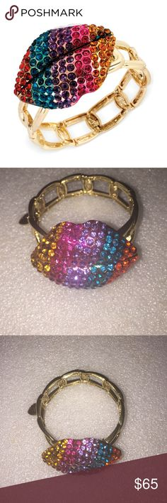 Betsey Johnson bracelet Selling to buy Betsey pieces I need. This is from the eye c collection. The bracelet is gold tone stretch. The gorgeous charm is of large lips. The lips are encrusted with multicolored rhinestones. Nwot Betsey Johnson Jewelry Bracelets