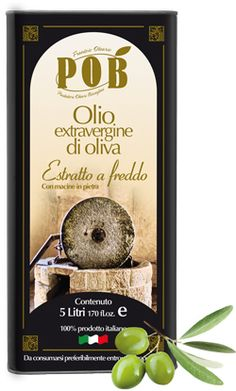 $17 Extravirgin olive oil in tin - COLD EXTRACTION    It is obtained by COLD EXTRACTION of selected olives grown in Biscegliese country    This extra virgin is produced by cold extracting with millstones from selected olives. This kind of extra virgin is presented as a robust olive oil and its taste enhances and enriches the flavor of the plates for that it is used. This product is available in tins of 1,3 and 5 liters.  www.oliopob.it