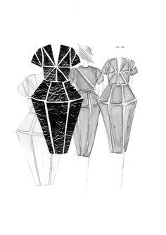 Silhouetten entwickeln – wie geht das? Ich erkläre euch anhand meiner Bewerbungsmappe für Mode Design wie ich vorgegangen bin, um neue, interessante Modeentwürfe zu kreieren. Hermine on walk | Mode Design | Silhouetten entwicklen | Sketchbook | Fashion Illustration | print | structure