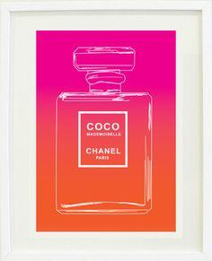 Chanel perfume bottle outline print poster