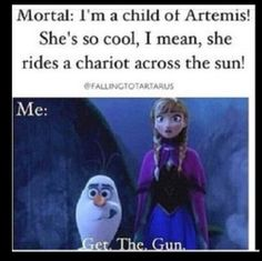 Ok, first of all Artemis doesn't have kids and second she doesn't ride a chariot across the sun