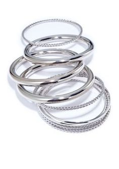 New Directions  Silver-Tone Smooth and Rope Textured Bangle Set