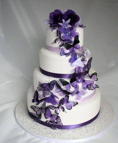 """""""50 Shades of Purple""""Butterfly Wedding Cake"""