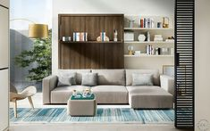 Resource Furniture offers quality transforming furniture to make your home functional. Compact wall beds, sofas/sectionals, tables, storage solutions, and more. Queen Murphy Bed, Murphy Bed Ikea, Murphy Bed Plans, Murphy Bed With Sofa, Camas Murphy, One Room Flat, Hideaway Bed, Resource Furniture, Modern Murphy Beds