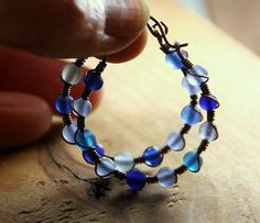 Shades of Blue  Frosty Beaded Copper Wrapped by AllowingArtDesigns, $19.00