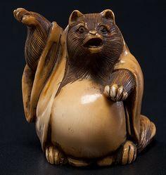 cat/bear like figure-cute-Edo Period Ivory Tanuki Netsuke, Signed
