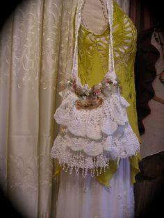 Layered Doily Bag, embellished lace doily bag, romantic bag, cottage bag, shabby chic