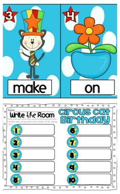 WRITE the ROOM (Circus Cat Theme):  Students find, read and write the sight words from each card displayed around the room onto the recording sheet. $