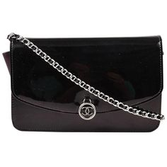"""Preowned Chanel Eggplant Patent Leather Silver Tone Metal Chain """"woc""""... (£1,385) ❤ liked on Polyvore featuring bags, handbags, shoulder bags, multiple, chain purse, chain-strap handbags, chain shoulder bag, shoulder strap handbags and patent leather purse"""
