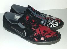 Nike mens 13 black red white gray paint splatter graphic casual slip on shoes…