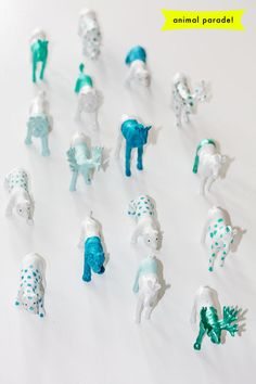 Painted Plastic Animal Toys to match decor.  perfect for table centerpieces or on dessert table