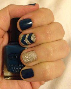 Chevron Nails -                                                      Glittery Winter manicure