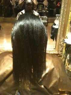 The back of my client's relaxed hair
