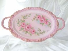 PINK+on+PINK+ROSE+TRAY+hp+chic+shabby+vintage+cottage+hand+painted+Victorian+art+
