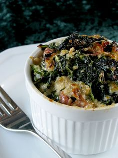 Kale and Parmesan Casserole - contains 1/2 cup shredded parmesan, but it could be optional.