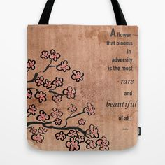 Mulan.. a flower that blooms in adversity is the most rare and beautiful of all.. tote bag by studiomarshallgifts on Etsy