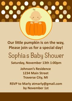 How to Make Fall Baby Shower Invitations Templates with charming design for Fall. - How to Make Fall Baby Shower Invitations Templates with charming design for Fall Baby Shower Invita - Baby Shower Fall, Fall Baby, Baby Shower Themes, Baby Boy Shower, Shower Ideas, Baby Showers, Shower Tips, Custom Baby Shower Invitations, Baby Shower Invitation Templates