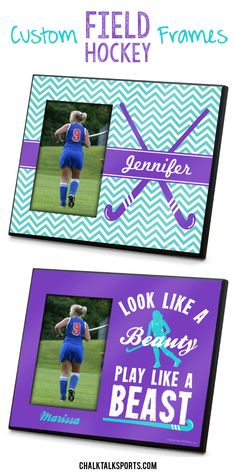 Custom field hockey frames make a great gift for field hockey seniors at the end of the season! Choose from so many different designs and color options, then personalize with player name! Field hockey girls will love to decorate their rooms with our personalized frames. Only from ChalkTalkSPORTS.com! Hockey Gifts, Sports Gifts, Ou Sports, Softball Gifts, Cheerleading Gifts, Hockey Stuff, Basketball Gifts, Field Hockey Quotes, Field Hockey Girls