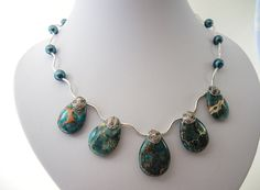 Blue jasper necklace, handmade beaded light weight choker, gemstone semi precious beads of imperial jasper, pearls, silver, magnetic clasp - pinned by pin4etsy.com
