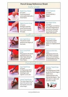 Pencil Grasp Reference Sheet - Your Kids OT Pediatric Occupational Therapy, Pediatric Ot, Pre Writing, Writing Skills, Writing Notebook, Hand Writing, Finger Gym, Funky Fingers, Handwriting Activities