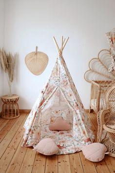 Teepee Nursery, Nursery Decor, Bedroom Decor, Flower Power, Cotton Mats, Cotton Fabric, Floral Fabric, Childrens Teepee, Kids Teepee Tent