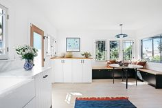 A Good Coat of White Paint Transformed This Silver Lake Home Inside and Out Style Tile, Home, Rental Kitchen, Gorgeous Interiors, Leather Dining, White Paints, Renovations, Spanish Style Tile, Rental Kitchen Makeover