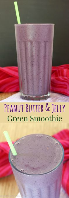 Peanut Butter and Jelly Green Smoothie - a smoothie recipe that tastes like a childhood favorite PB&J sandwich. Perfect for breakfast or a healthy snack!