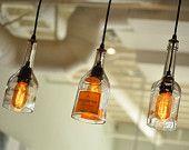 Recycled Bottle, Wine Bottle Pendant, Hanging Bottle Pendant, Whiskey Bottle, Bottle Lamp with Edison Lightbulb. $52.00, via Etsy.