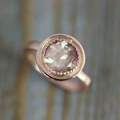14K rose gold and Oregon sunstone engagement ring