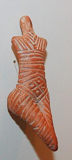 Neolithic ceramic female figurine Cucuteni-Trypillian culture, ca. 5500-2750 BCE, Piatra Neamt Museum.