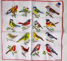Vintage Handkerchief Kreier Birds