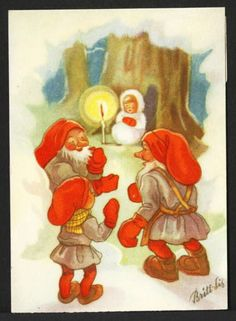 Signed Britt Lis Swedish Miniature Postcard Tomtes or Swedish Santas Find Child