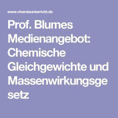 Prof. Blumes Medienangebot: Chemische Gleichgewichte und Massenwirkungsgesetz
