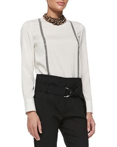 Long-Sleeve Suspender-Effect Blouse by Brunello Cucinelli at Neiman Marcus.1415 $