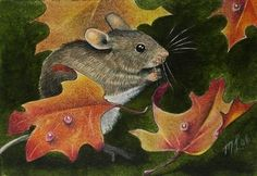 Fall Mouse Art by Melody Lea Lamb ACEO Print by MelodyLeaLamb