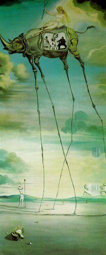 [surrealismo] Celestial ride, Salvado Dali, 1957. Obra feita por um dos mais importantes do movimento surreal que retratou a capacidade criativa de sonhar e viajar através dessa obra que retrata um descaracterizado rinoceronte transportante uma garota celestial em sua garupa.