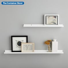 Cleverly designed with a discreet lip on the edge to keep things in place, these shelves are ideal for displaying your growing and changing collection of photos, prints, cards, invitations and small collectibles. White Wall Shelves, Ledge Shelf, Wood Floating Shelves, Floating Wall, Wall Mounted Shelves, Corner Shelves, Wood Shelves, Glass Shelves, Storage Shelves