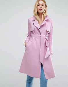 Shop ASOS Bonded Mac with Contrast Trims. With a variety of delivery, payment and return options available, shopping with ASOS is easy and secure. Shop with ASOS today. Pink Trench Coat, Mantel Trenchcoat, Yellow Raincoat, Hooded Raincoat, Raincoats For Women, Casual Fall Outfits, Winter Outfits, Ideias Fashion, Coats