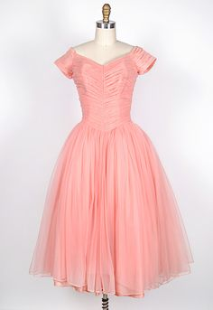 Vintage 1950s Pink Ruched Prom Dress   Once Upon A Dress