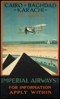 Vintage 1920s Egyptian Airline Travel Poster MISR Air #2 Egypt and the Nile