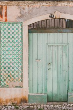 Travel Photograph, Fine Art Travel Photograph, Travel Photo Mint door photo taken in Lisbon, Portugal, where I live. Lisbon is one of the most The Doors, Windows And Doors, Architecture, Shabby Vintage, Shabby Chic, Decoration, Entrance, Beautiful Places, Photo Wall