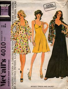 McCall's 4010 Maxi Dress Spaghetti Strap Dress & Jacket 70s vintage sewing pattern Size 12 Bust 34 inches