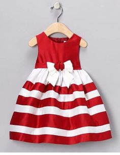 Think of your triplet girls wearing these matching dresses to a Christmas party. Toddler Dress, Toddler Outfits, Baby Dress, Kids Outfits, Infant Toddler, Toddler Girls, Little Girl Fashion, Kids Fashion, Vestidos Color Rojo