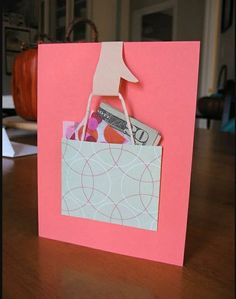 ~ Shopping bag money/gift card holder card…image only Cute Cards, Diy Cards, Craft Gifts, Diy Gifts, Handmade Gifts, Money Cards, Gift Money, Money Gifting, Creative Cards