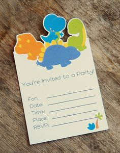 I just ordered these for Maddix's birthday party. So cute  Dinosaur Party  Set of 8 Dino Roar Invitations by TheBirthdayHouse, $8.00