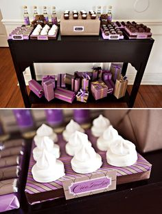 i love the idea of taking cardboard boxes and wrapping them in paper to create easy, cute and inexpensive trays that match the decor of the party perfectly