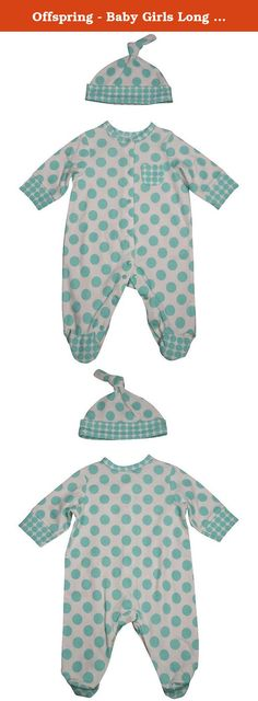 Offspring - Baby Girls Long Sleeve Coverall and Hat, Aqua, White 32179-3Months. Offspring - Newborn and Infant Girls Long Sleeve Coverall and Hat, Aqua, White, Footed, Front Snaps, Crotch Snaps, Large Dot Print, Matching Hat, 100% Cotton, Made in China, #32179 32-179.