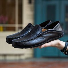 4fda36dd69a Genuine Leather Loafers Men Shoe - KANTANGUA Leather Boat Shoes
