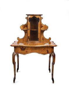 Émile Gallé (1846-1904) - Ladies Writing Desk. Carved Mahogany, with Light & Dark Fruit Wood Marquetry Inlays, Glass and Brass Hardware. Nancy, France. Circa 1898. 135cm x 87cm x 66cm.