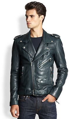 BLK DNM Leather Moto Jacket. Had a jacket really close to this back in the day. Leather was so thick. Too bad it fell of the back of my bike one road trip.